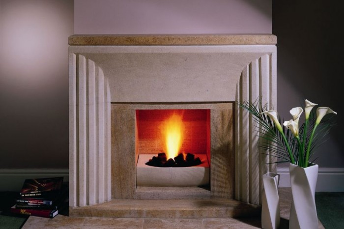 Modern Portland Stone Fireplace by Ian Knapper