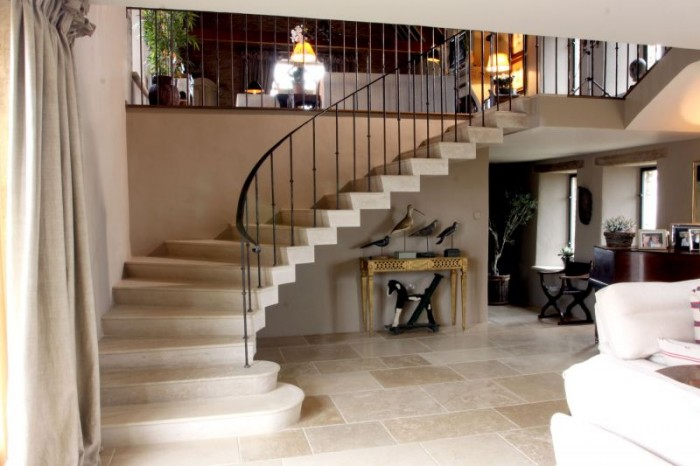 creating space with light and stone staircase