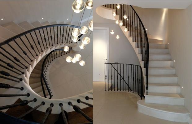 spotlighting on staircase - interior design with stone