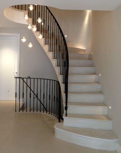 spotlit stone staircase