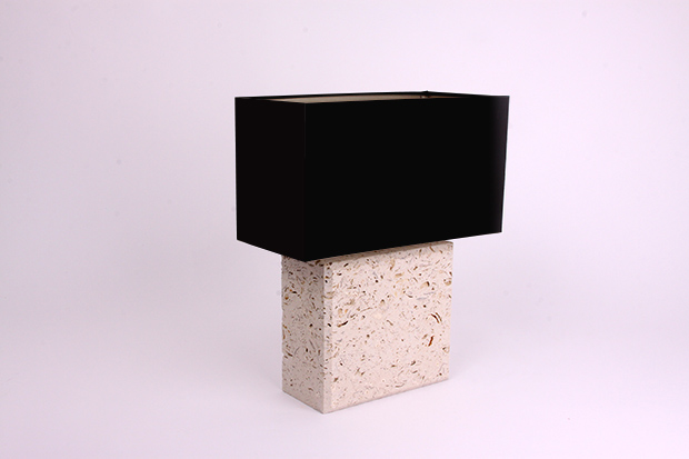 Portland Roach Square Lamp with Black Lampshade - Ian Knapper