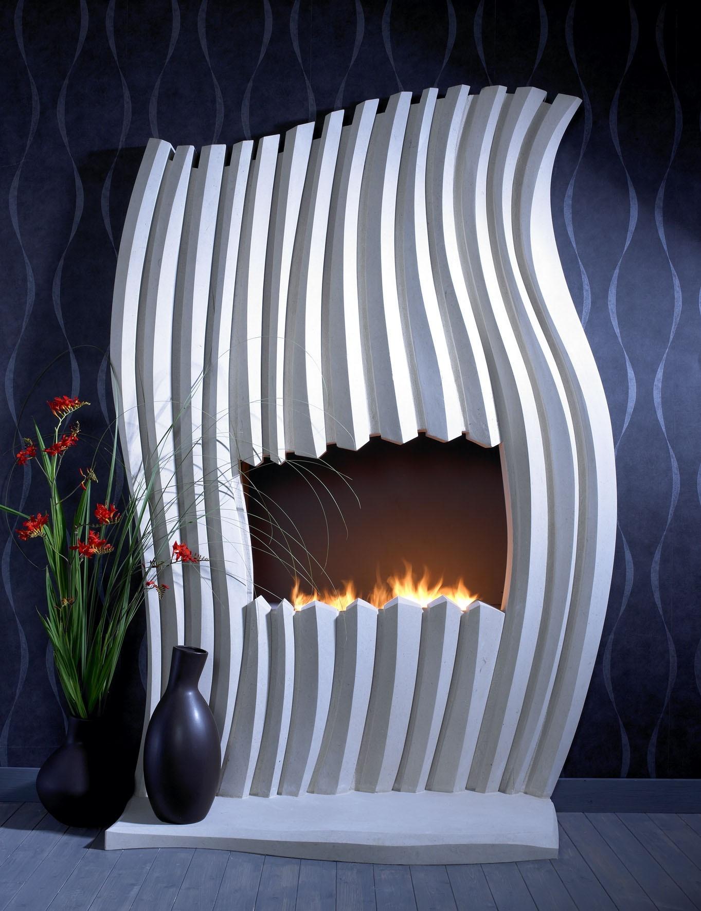 26. Carved sculptural Portland stone fireplace – West Midlands