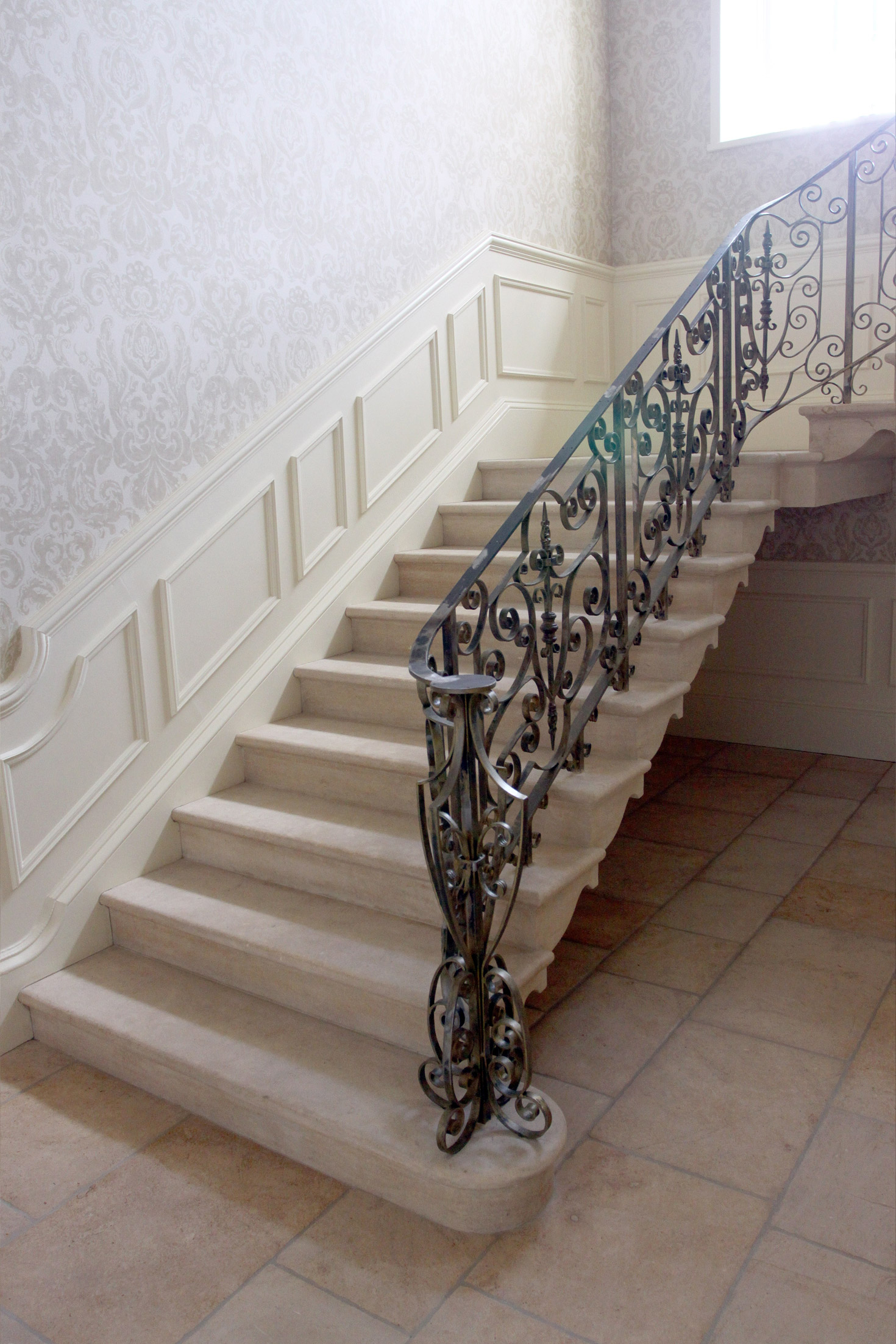 14. Period country house staircase with matching Cotswold stone flooring – Yorkshire