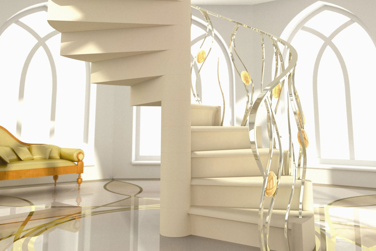 20. Portland stone spiral staircase with chrome and brass balustrade – Derbyshire