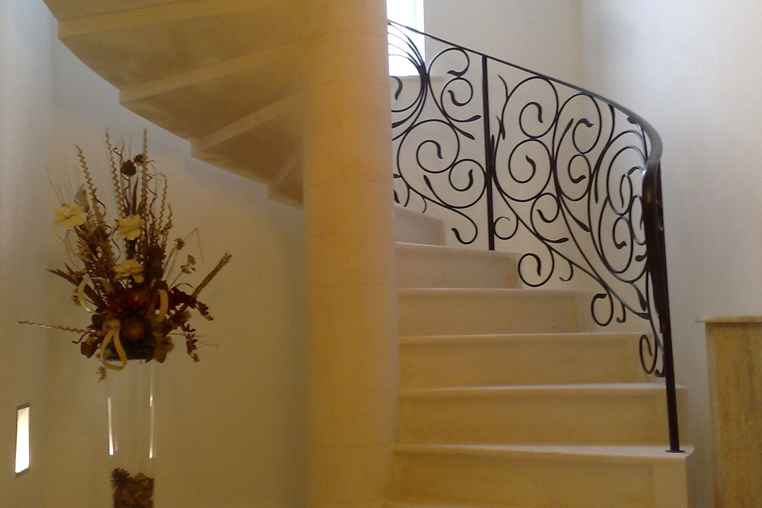 6. Moleanos stone spiral staircase with stepped and shaped soffit – South Yorkshire