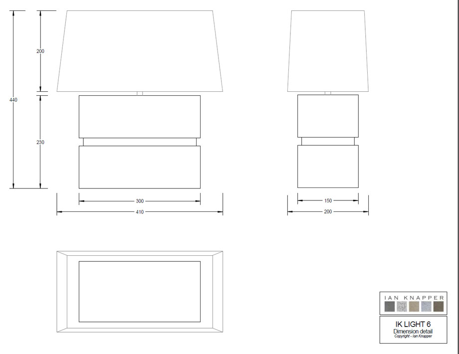 Technical Drawing Rectangle Inset Lamp Shape