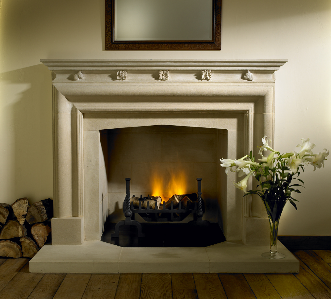17. Hollington stone bolection fireplace with carved detail – Staffordshire