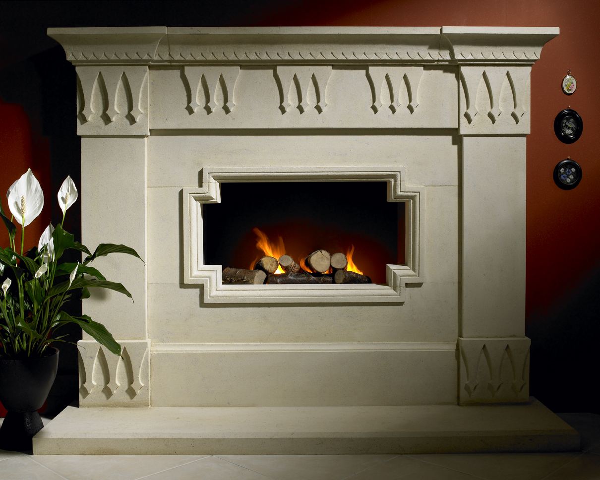18. Art Deco inspired Bathstone 'hole in the wall' fireplace – Surrey