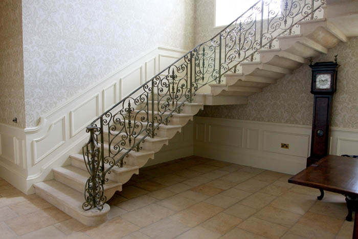 44. Cantilever Cotswold stone staircase with shaped soffit – Yorkshire