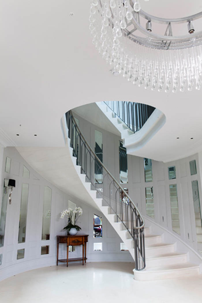 46. Cantilever staircase, Malone stone with matching flooring – Hertfordshire