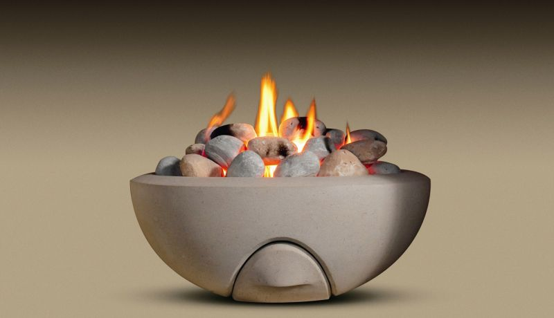 27. Contemporary Portland stone firebowl with gas burner and pebbles – Staffordshire