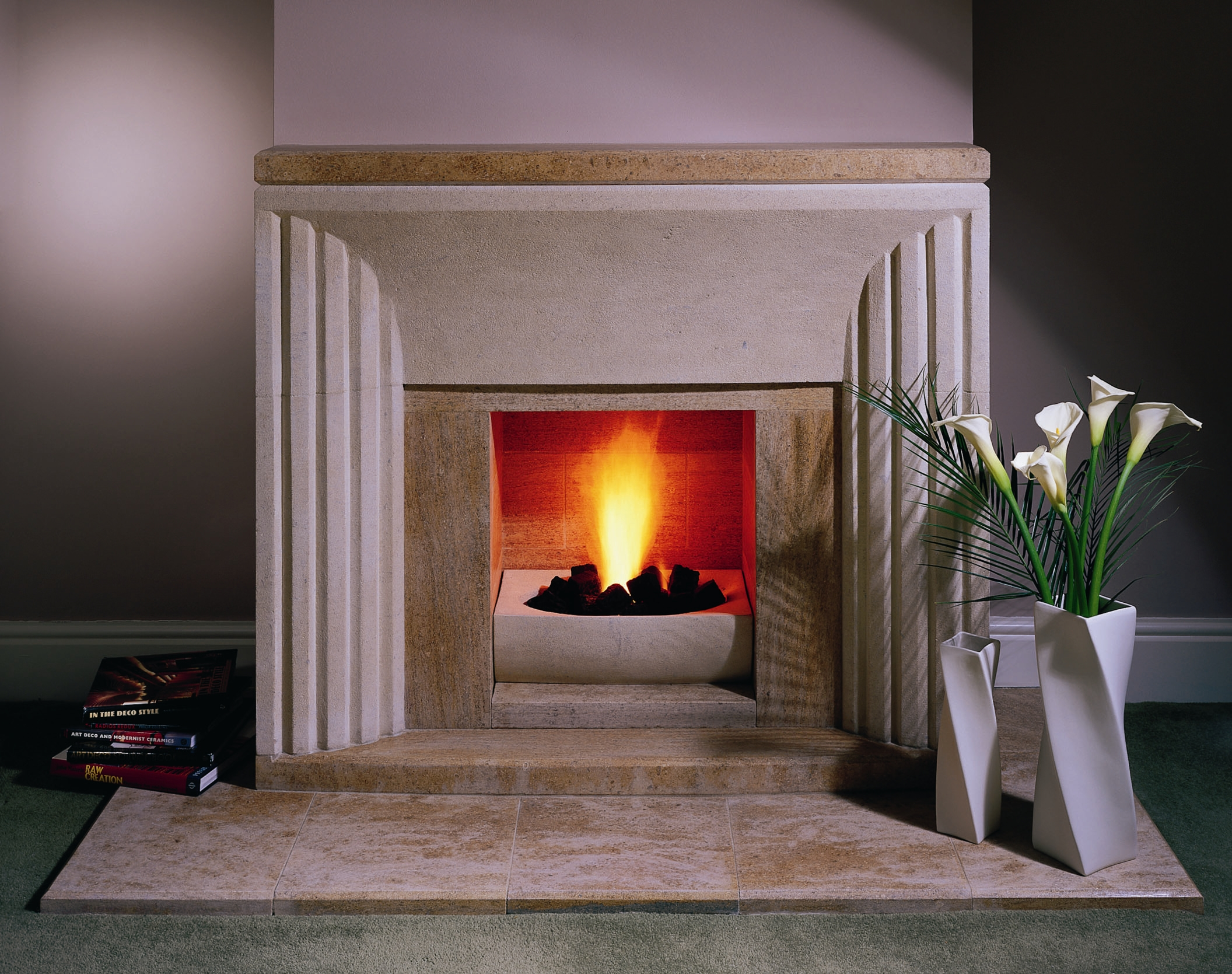 Contrasting Bath and Ancaster Stone Fireplace